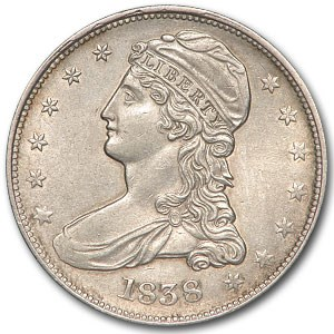 1838 Reeded Edge Half Dollar AU