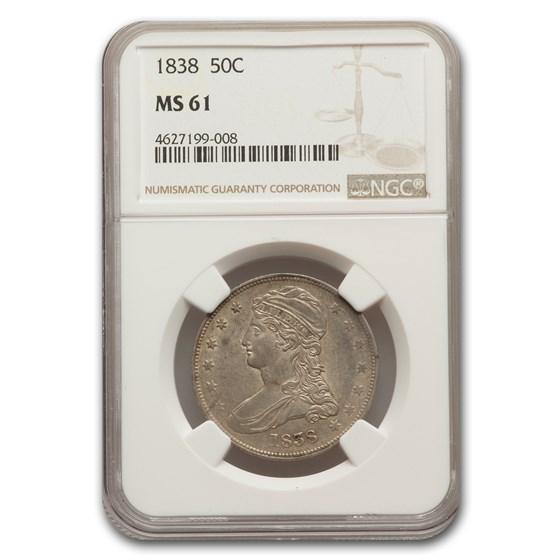 1838 Reeded Edge Half Dollar MS-61 NGC