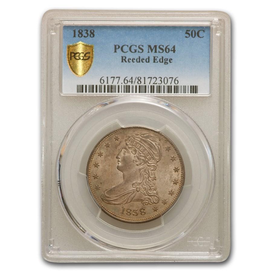 1838 Reeded Edge Half Dollar MS-64 PCGS