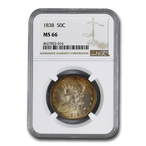 1838 Reeded Edge Half Dollar MS-66 NGC