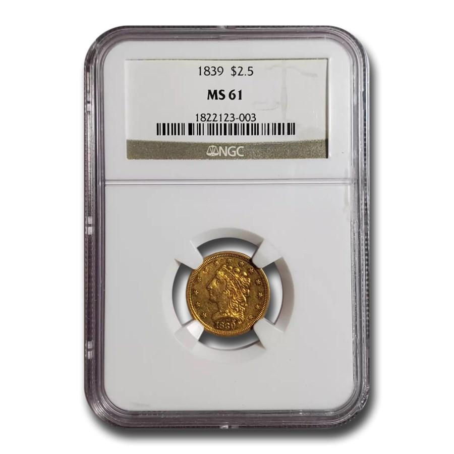 1839 $2.50 Classic Head Gold Quarter Eagle MS-61 NGC