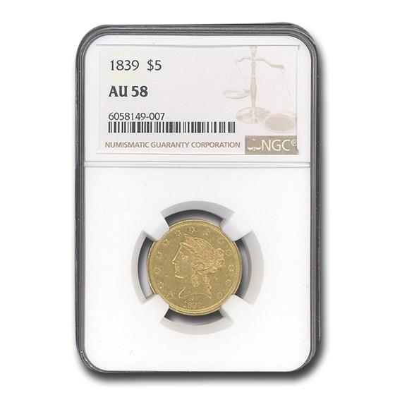 1839 $5 Liberty Gold Half Eagle AU-58 NGC