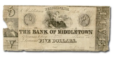 1839 Bank of Middletown, PA, $5 PA-300 Fine COUNTERFEIT