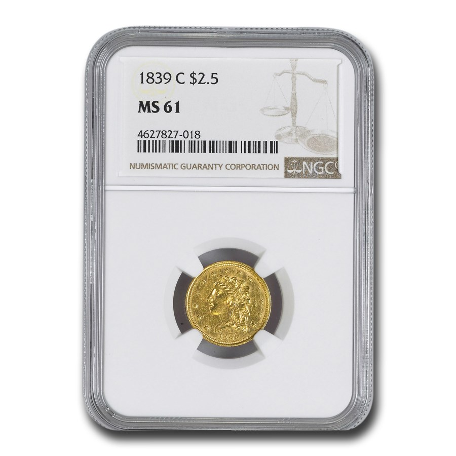 1839-C $2.50 Classic Head Eagle MS-61 NGC