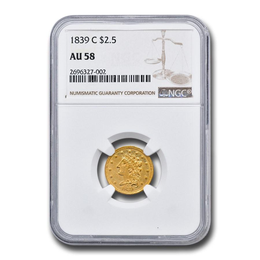 1839-C $2.50 Gold Classic Head AU-58 NGC