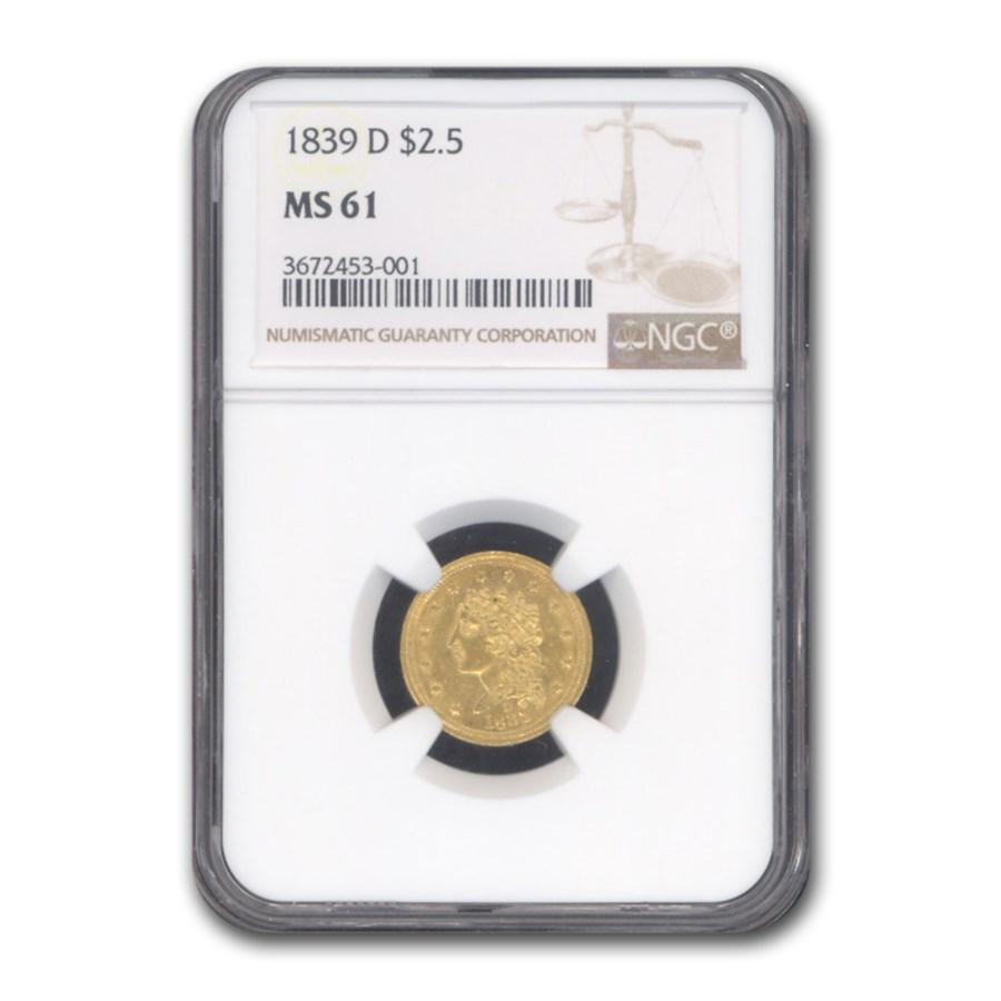 1839-D $2.50 Gold Classic Head Quarter Eagle MS-61 NGC