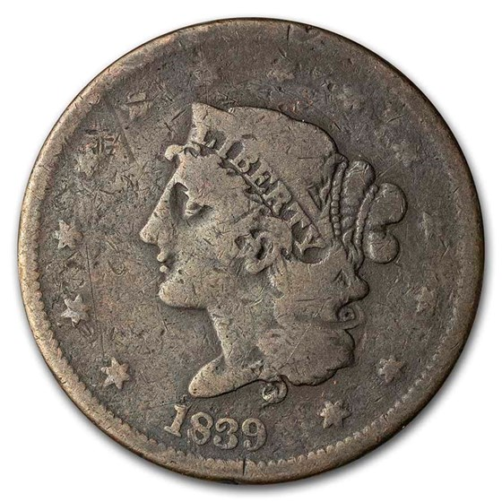1839 Large Cent Booby Head VG
