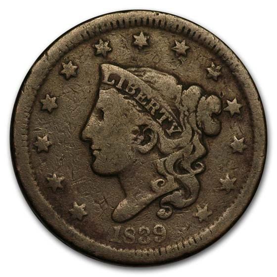 1839 Large Cent Head of 1838 VG