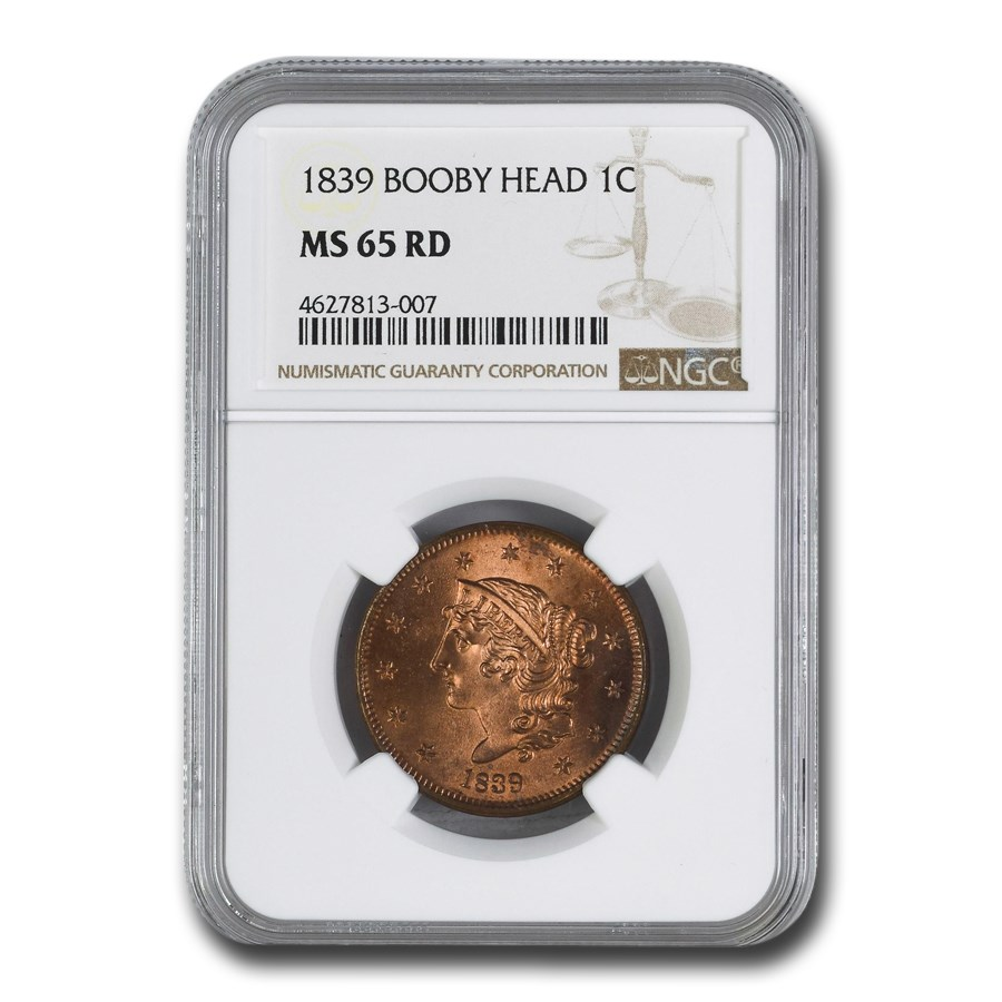1839 Large Cent MS-65 NGC (Red, Booby Head)
