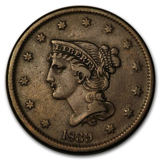 1839 Large Cent Petite Head VF