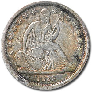 1839 Liberty Seated Dime AU Details (Cleaned)