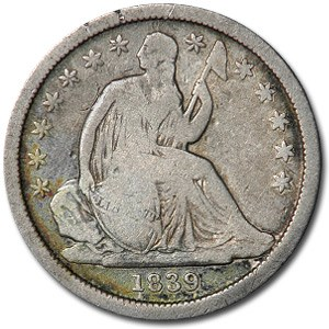 1839 Liberty Seated Dime VG