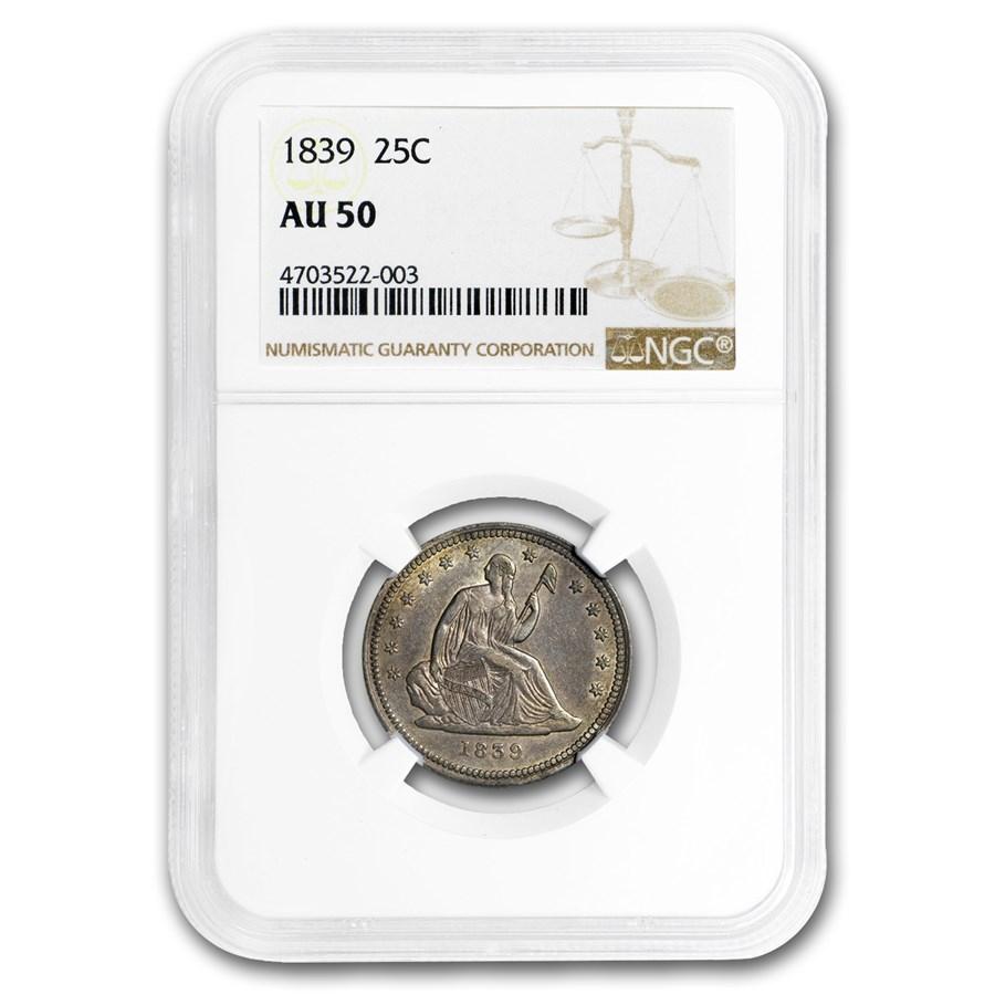 1839 Liberty Seated Quarter AU-50 NGC