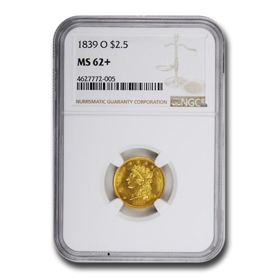 1839-O $2.50 Gold Classic Head MS-62+ NGC