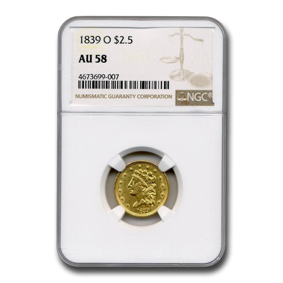 1839-O $2.50 Gold Classic Head Quarter Eagle AU-58 NGC