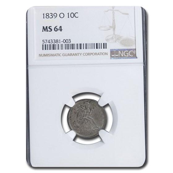 1839-O Liberty Seated Dime MS-64 NGC
