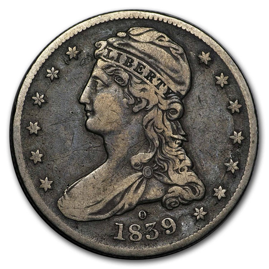 1839-O Reeded Edge Half Dollar VF