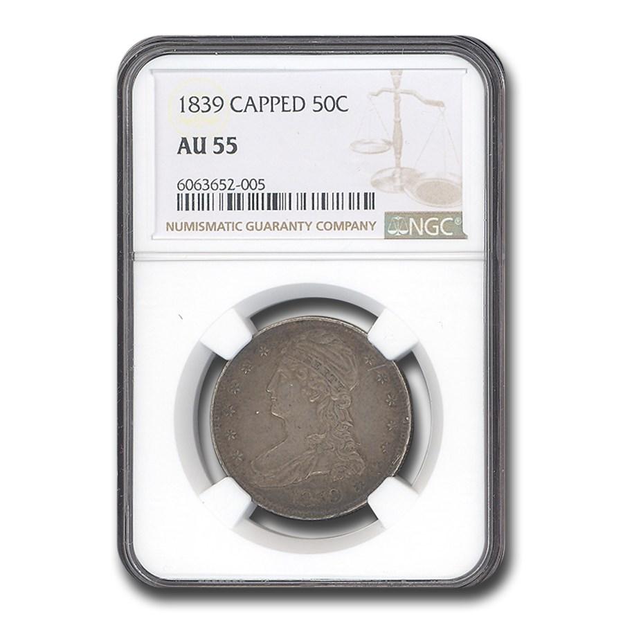 1839 Reeded Edge Half Dollar AU-55 NGC