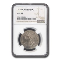 1839 Reeded Edge Half Dollar AU-58 NGC