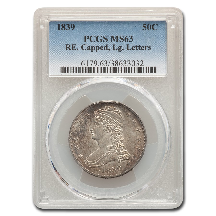 1839 Reeded Edge Half Dollar MS-63 PCGS (RE,Capped, Lg. Letters)