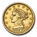 1840-1858 $2.50 Liberty Gold Quarter Eagle (Old Reverse, Cleaned)