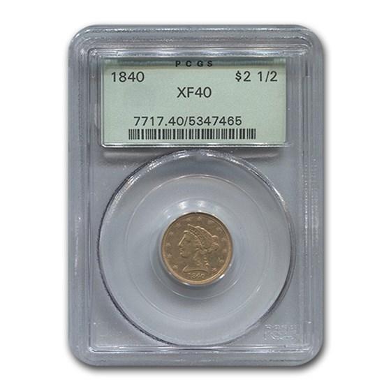 1840 $2.50 Liberty Gold Quarter Eagle XF-40 PCGS