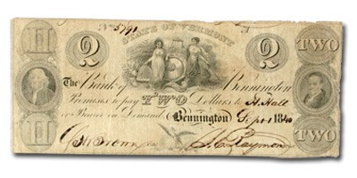 1840 Bank of Bennington, State of VT $2.00 Note VT-10 Fine