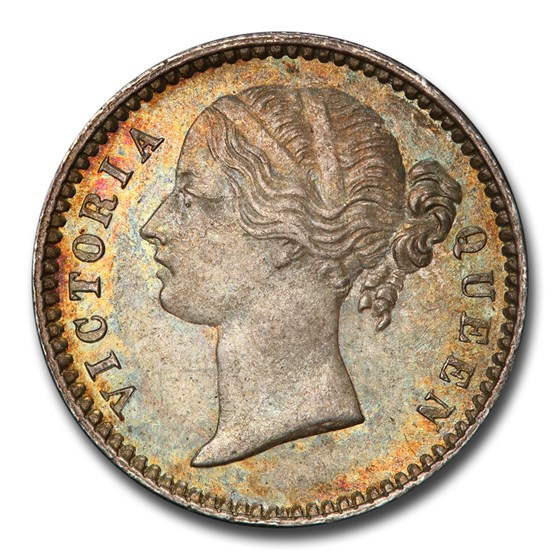 1840-BC India-British Silver 1/4 Rupee MS-65 PCGS