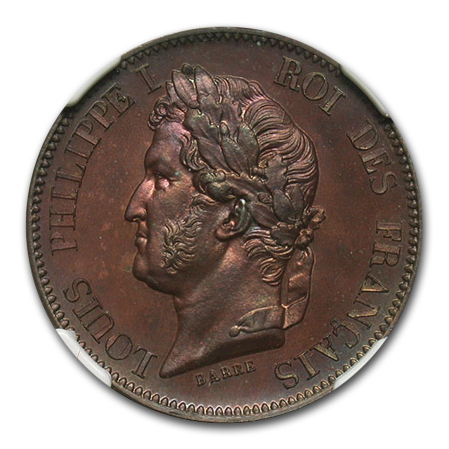 1840 France 5 Centimes MS-65 NGC (Brown, Mazard-1145)