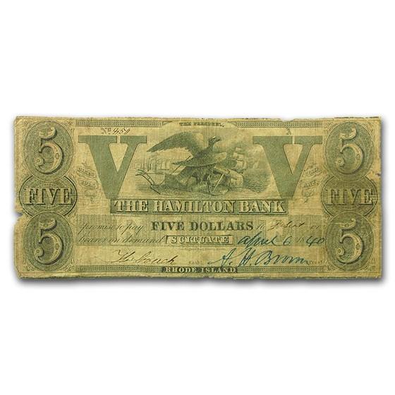 1840 Hamilton Bank of Scituate, RI $5.00 VG (Haxby RI-440)