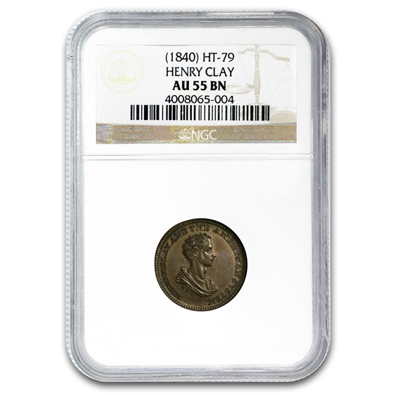 (1840) Henry Clay Presidential Campaign Medal AU-55 NGC (Brown)