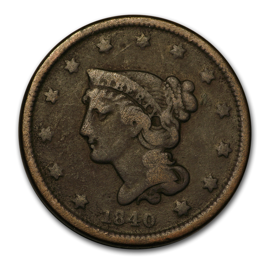 1840 Large Cent Sm Date VG