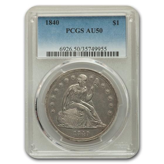 1840 Liberty Seated Dollar AU-50 PCGS