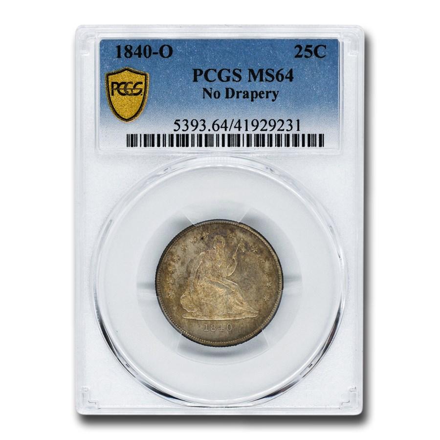 1840-O Liberty Seated Quarter MS-64 PCGS (No Drapery)
