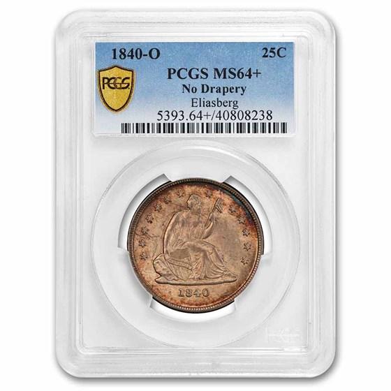 1840-O Liberty Seated Quarter MS-64+ PCGS (No Drapery)