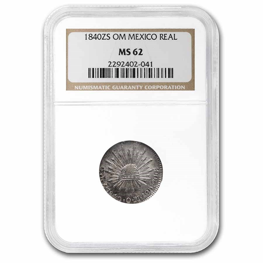 1840 Zs OM Mexican Republic 1/2 Real MS-62 NGC