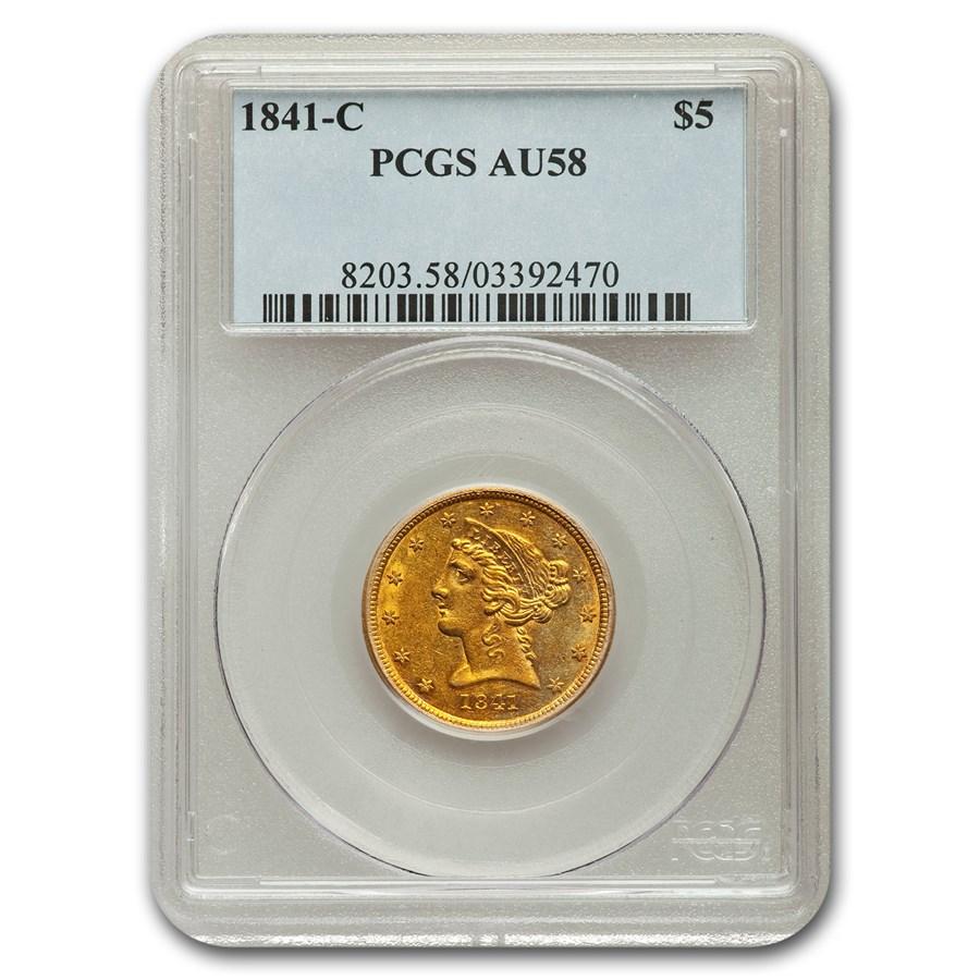 1841-C $5 Liberty Gold Half Eagle AU-58 PCGS