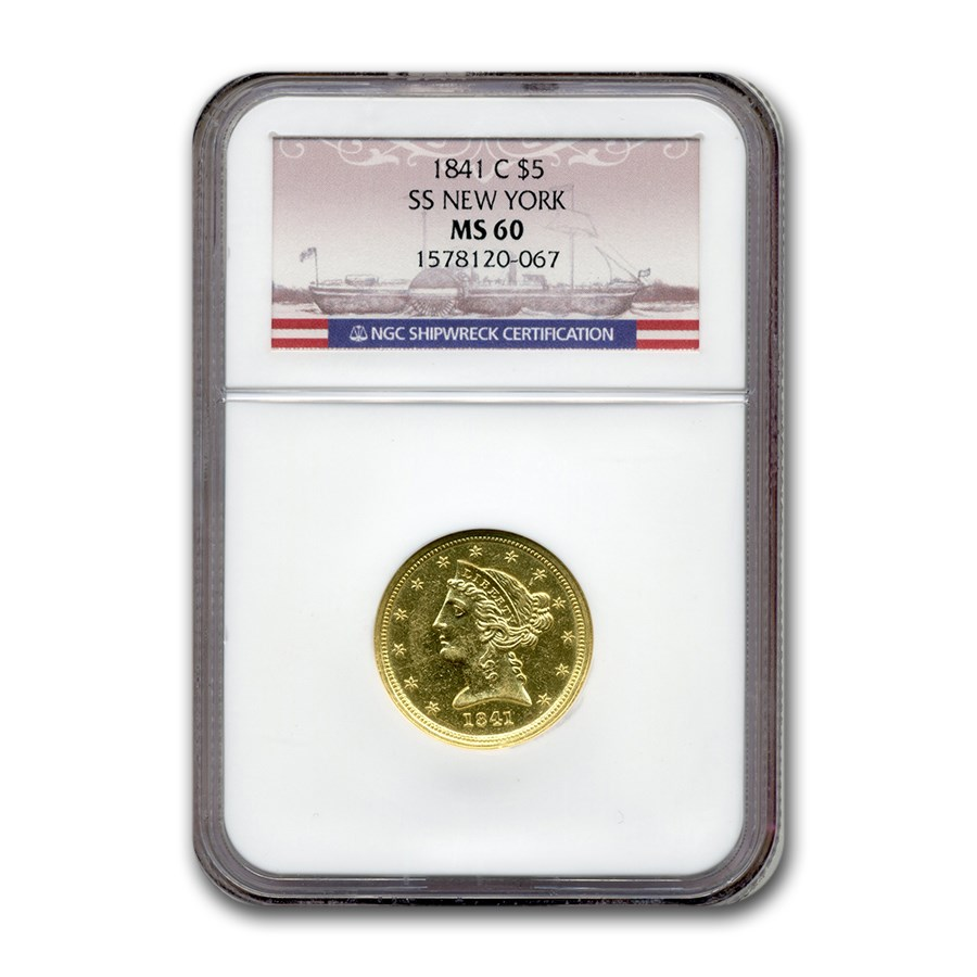 1841-C $5 Liberty Gold Half Eagle MS-60 NGC (SS New York)