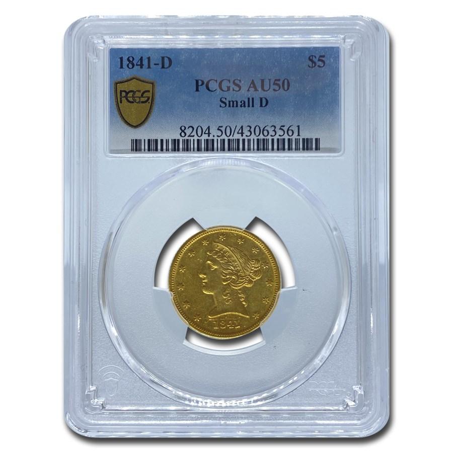 1841-D $5 Liberty Gold Half Eagle AU-50 PCGS (Small D)