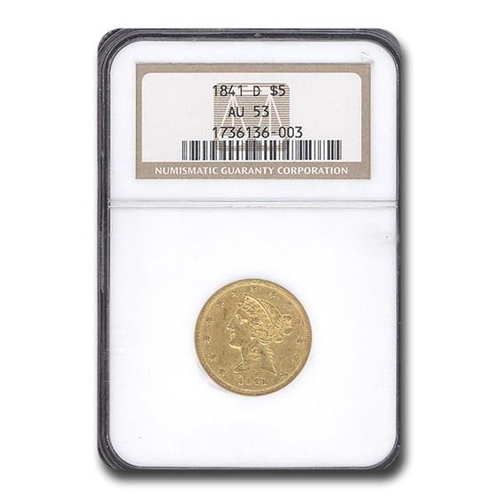 1841-D $5 Liberty Gold Half Eagle AU-53 NGC