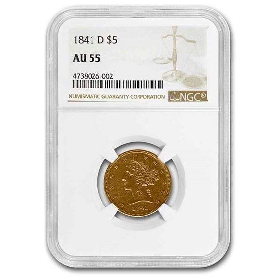 1841-D $5 Liberty Gold Half Eagle AU-55 NGC