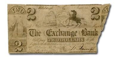 1841 Exchange Bank, Pittsburgh, PA $2.00 PA-525, COUNTERFEIT