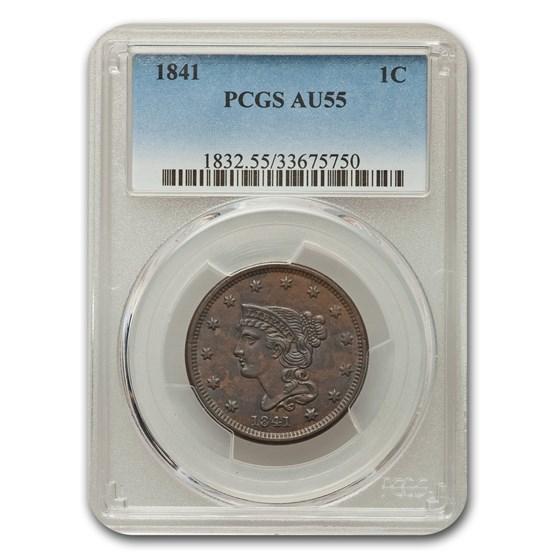 1841 Large Cent AU-55 PCGS