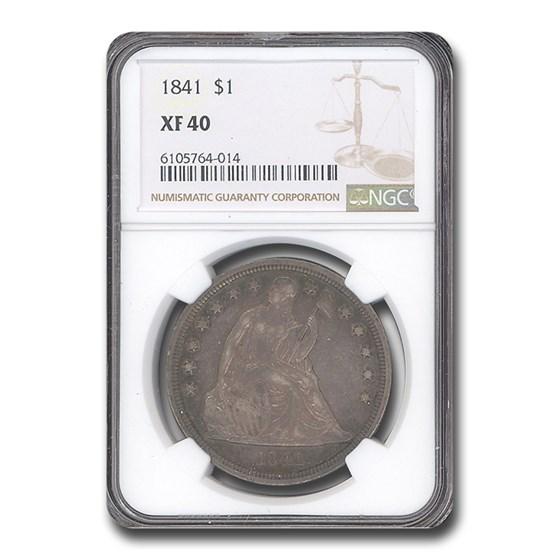 1841 Liberty Seated Dollar XF-40 NGC