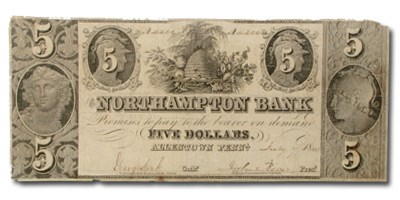 1841 Northampton Bank of Northampton, PA $5 PA-370 Fine