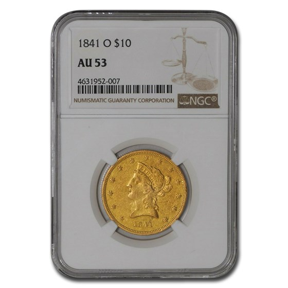 1841-O $10 Liberty Gold Eagle AU-53 NGC