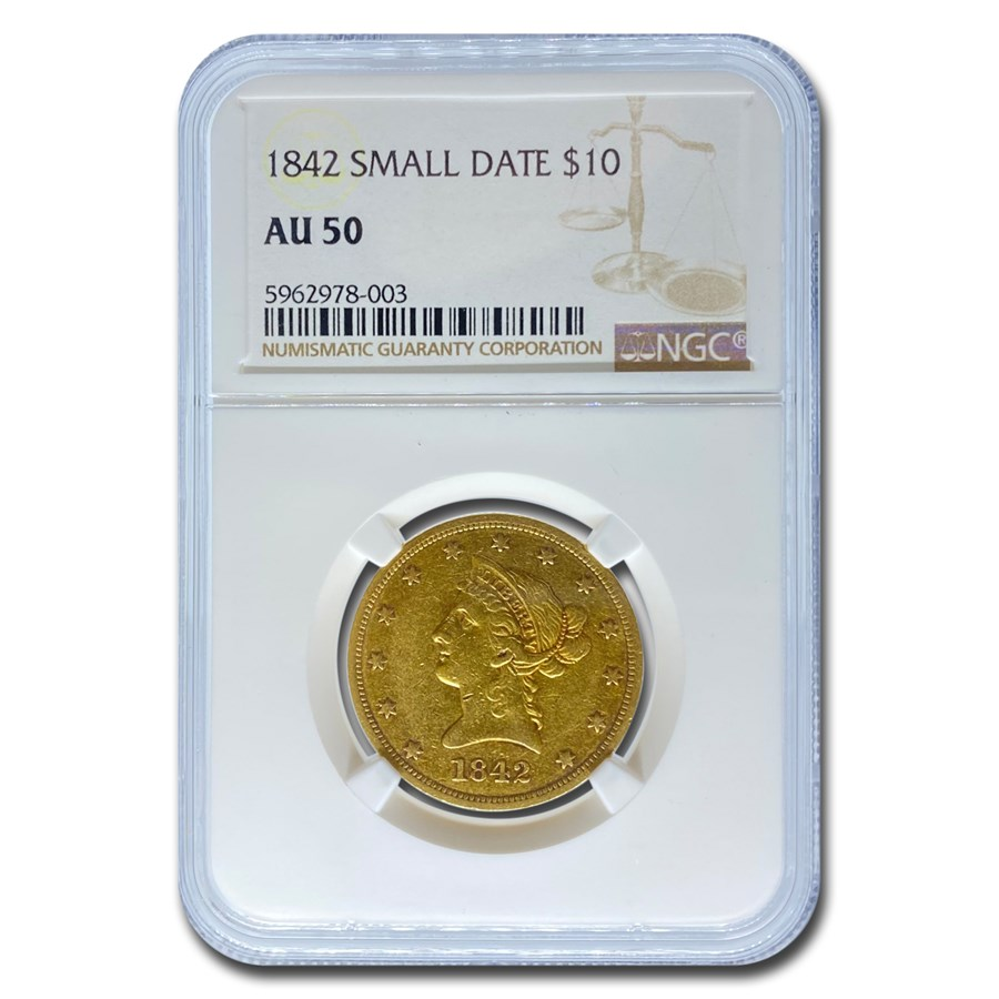 1842 $10 Liberty Gold Eagle AU-50 NGC (Small Date)