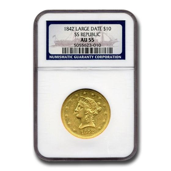 1842 $10 Liberty Gold Eagle AU-55 NGC (Large Date, SS Republic)