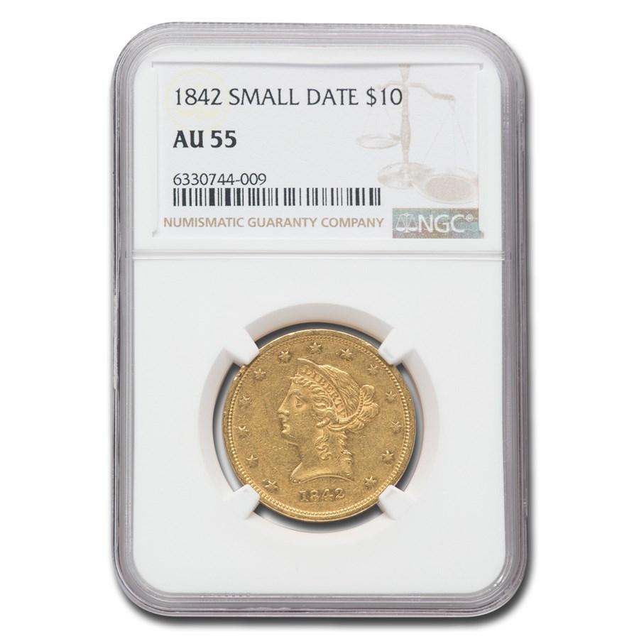 1842 $10 Liberty Gold Eagle AU-55 NGC (Small Date)