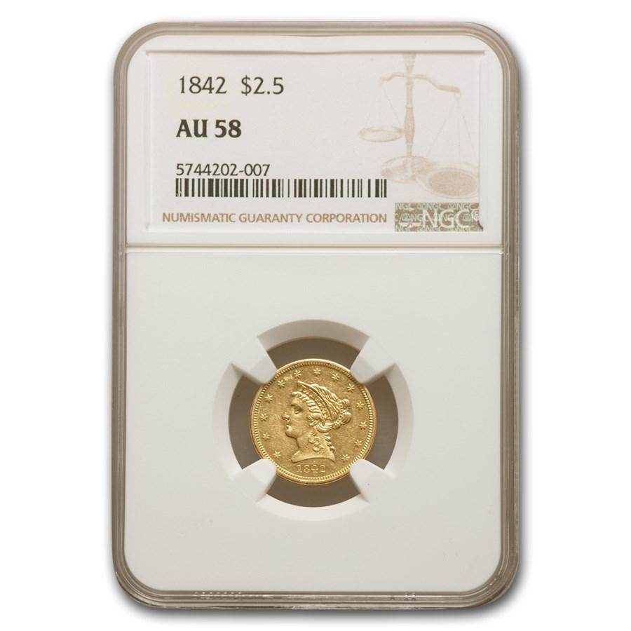 1842 $2.50 Liberty Gold Quarter Eagle AU-58 NGC